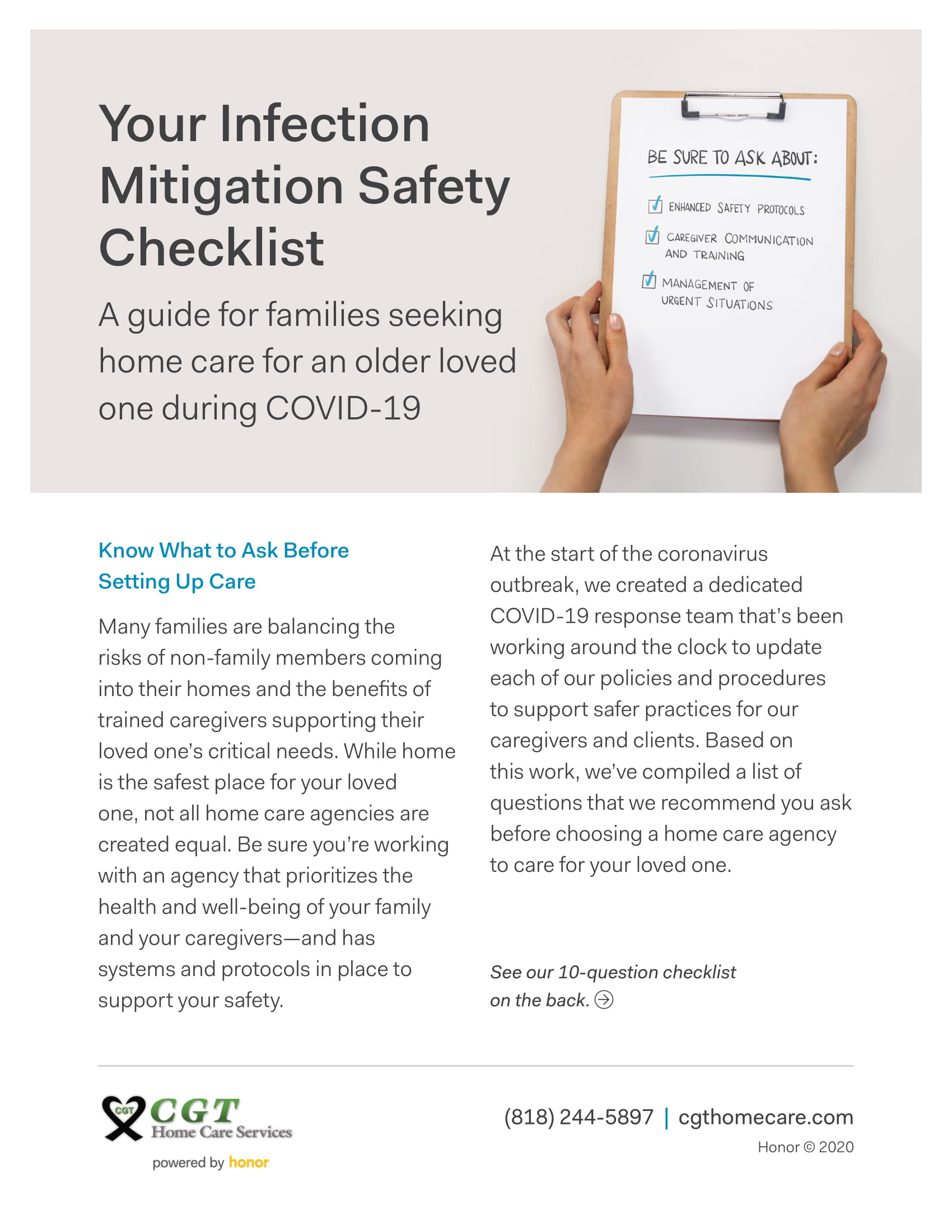 Your Infection Mitigation Safety Checklist