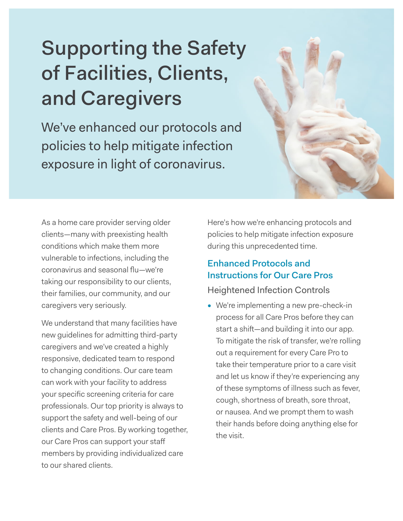 Supporting the Safety of Facilities, Clients, and Caregivers